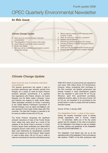 OPEC Quarterly Environmental Newsletter