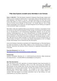Pillar Data Systems verstärkt seine Aktivitäten in der ... - IT-Business