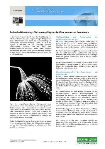 End-to-En nd-Monitor ring – Die L Leistungsfä ähigkeit ... - IT-Business