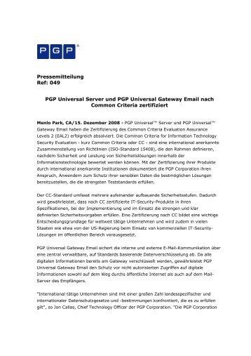 Pressemitteilung Ref: 049 PGP Universal Server und ... - IT-Business