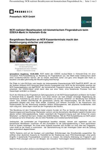 NCR realisiert Bezahlsystem mit biometrischem ... - it-werke