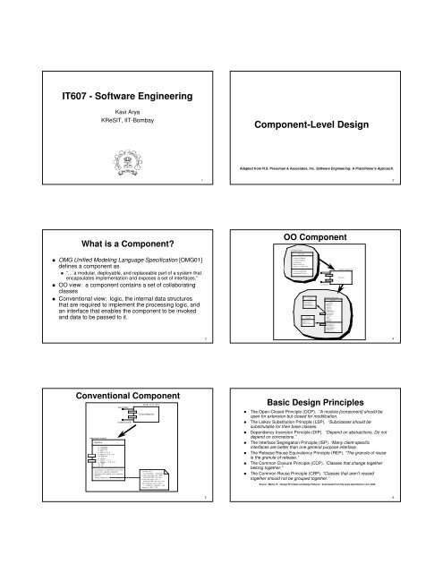 It607 Software Engineering Component Level Design Kresit