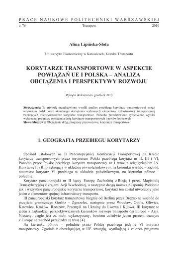 Korytarze transportowe w aspekcie powiązań UE i Polska - Transportu