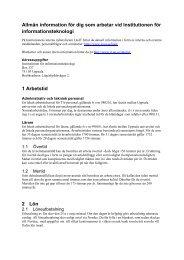 Information till nyanställda - Institutionen för informationsteknologi ...