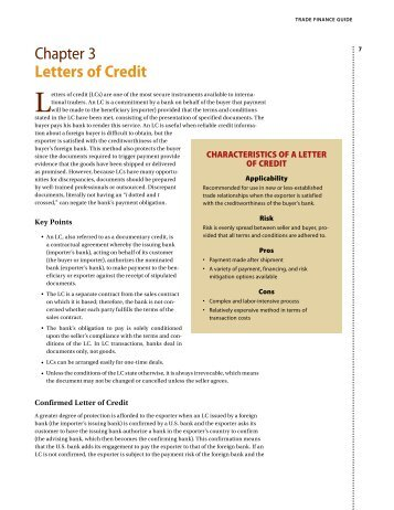 1 CHECKLIST FOR EXPORT LETTERS OF CREDIT The following