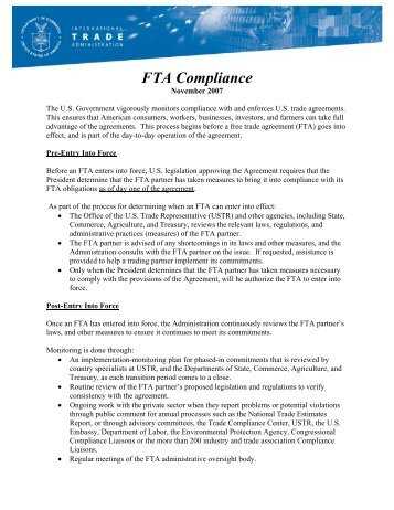 FTA Compliance - International Trade Administration