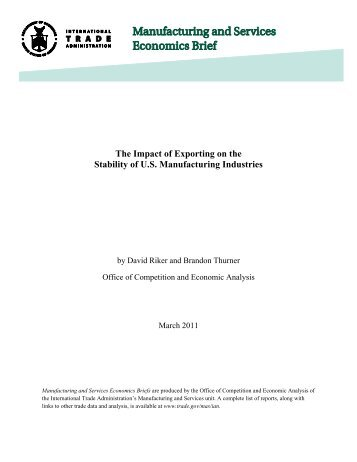 The Impact of Exporting on the Stability of US Manufacturing Industries