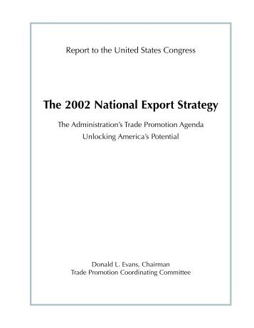 National Export Strategy 2002 - International Trade Administration ...