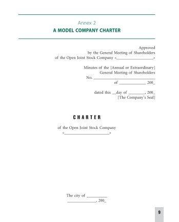 Annex 2 A MODEL COMPANY CHARTER C H A R T E R