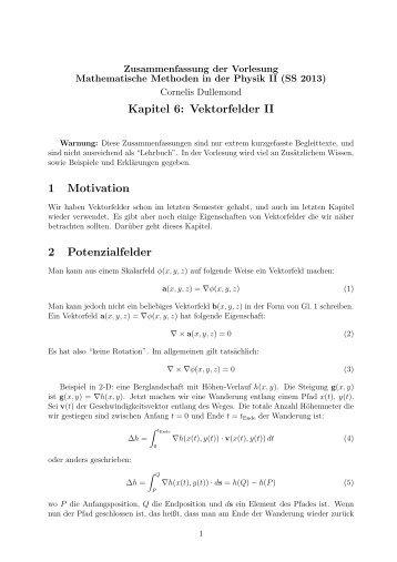 Zusammenfassung Vektorfelder II
