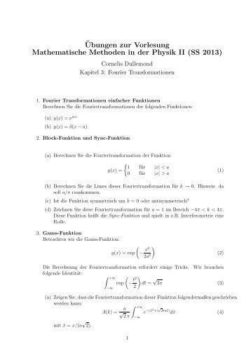 ¨Ubungen zur Vorlesung Mathematische Methoden in der Physik II ...