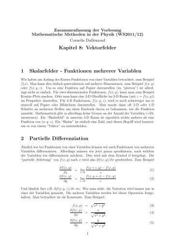 Zusammenfassung Vektorfelder