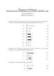 ¨Ubungen zur Vorlesung Mathematische Methoden in der Physik ...
