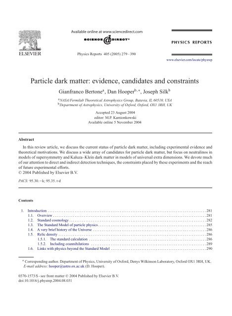 Observations Models and Searches Particle Dark Matter