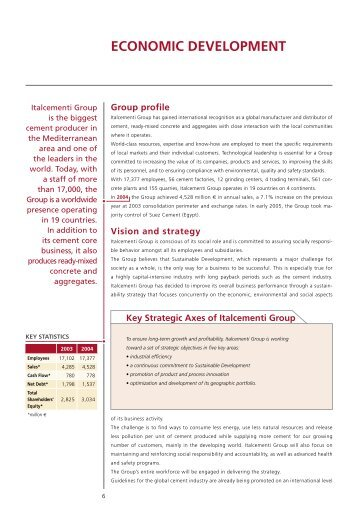 ECONOMIC DEVELOPMENT - Italcementi Group
