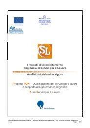 I modelli di Accreditamento Regionale ai Servizi per il ... - Italia Lavoro