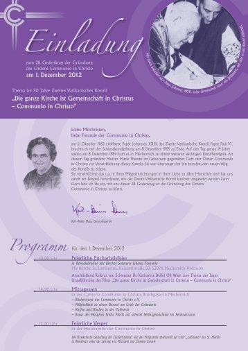 Einladung M - Communio in Christo
