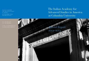 2002–2003 - The Italian Academy - Columbia University