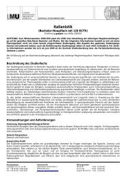 Italianistik - Institut für Italienische Philologie - LMU