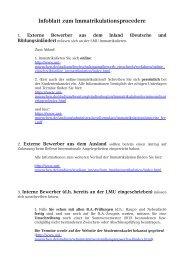 Infoblatt zum Immatrikulationsprocedere - LMU