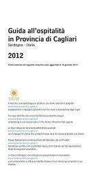 Guida all'ospitalità in Provincia di Cagliari 2012