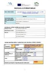 Protokol z jednání komise pro otevírání obálek s nabídkami