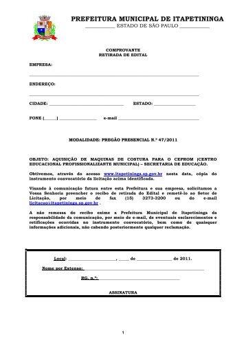 PP 47 - AQUISIÇÃO DE MAQUINAS DE COSTURA - Prefeitura ...
