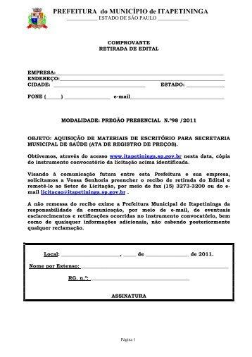 aquisição de materiais de escritório para secretaria municipal de ...