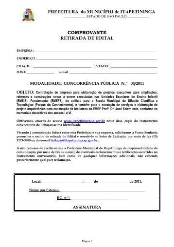 Contratação de empresa para elaboração de projetos executivos ...