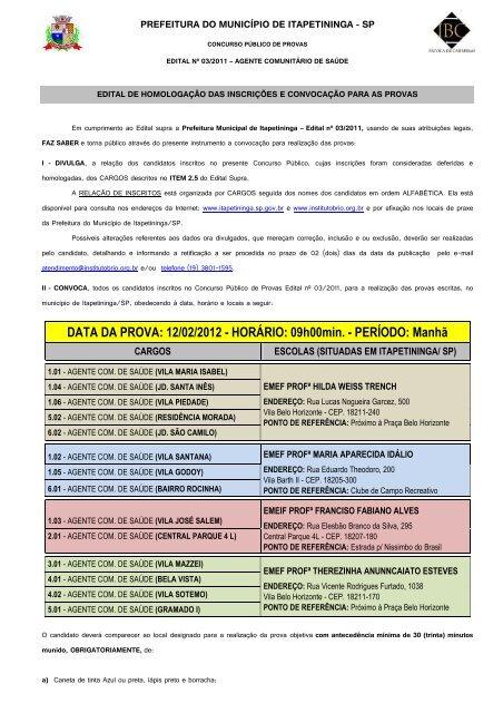 DATA DA PROVA - Prefeitura Municipal de Itapetininga