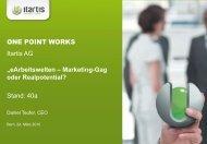 "ONE POINT WORKS Itartis AG ""eArbeitswelten – Marketing-Gag ..."