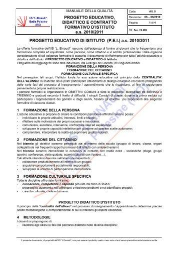 PROGETTO EDUCATIVO, DIDATTICO E CONTRATTO ... - Einaudi