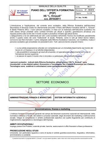 SETTORE ECONOMICO - Einaudi