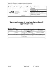 Marks and standards for phase 4 and phase 6 apprentice trades