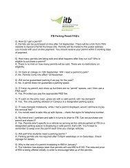 ITB Parking Permit FAQ's Q. How do I get a permit? A. Permits can ...