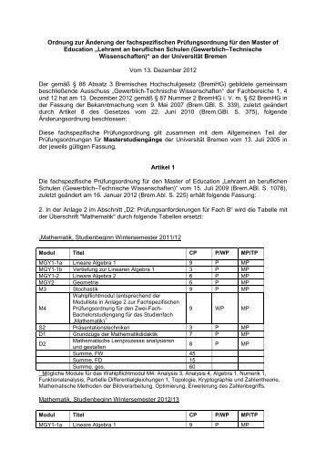 Ordnung zur Änderung der fachspezifischen Prüfungsordnung für ...