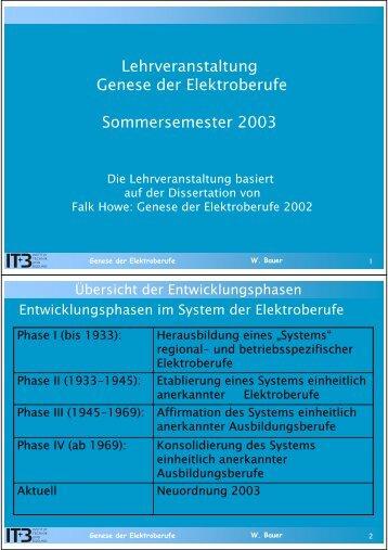 Lehrveranstaltung Genese der Elektroberufe Sommersemester 2003
