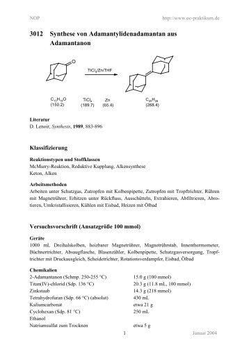 3012 Synthese von Adamantylidenadamantan aus ... - kriemhild