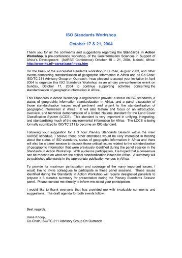 ISO StandardsWorkshop, October 17&21,2004 - ITC
