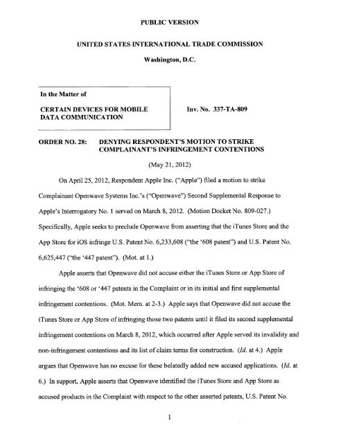 Order No  28 - ITC Law Blog
