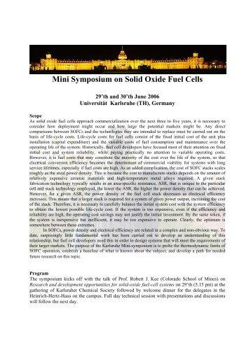 Mini Symposium on Solid Oxide Fuel Cells - Institut für Technische ...