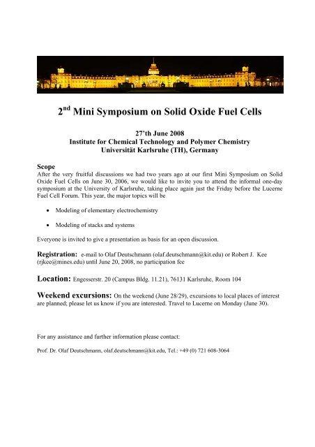 2 Mini Symposium on Solid Oxide Fuel Cells - KIT