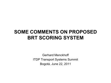 BRT Scoring System - ITDP | Institute for Transportation and ...