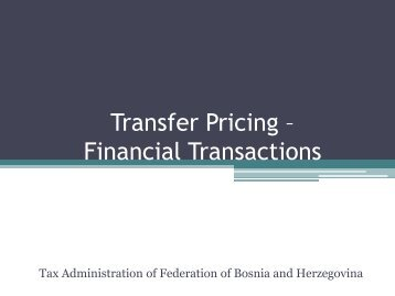Transfer Pricing – Financial Transactions