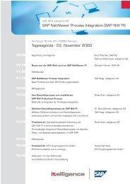 Tagesagenda SAP NetWeaver Process Integration - Itelligence AG