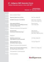 27. itelligence SAP Anwender-Forum - Itelligence AG