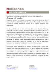 Traumziel SAP versilbert - Itelligence AG