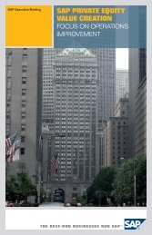 SAP PRIVATE EQUITY VALUE CREATION - itelligence