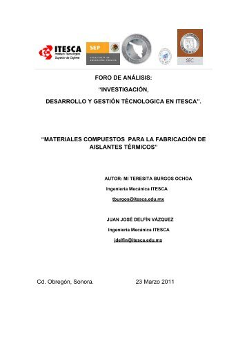 materiales compuestos para la fabrica - Instituto Tecnológico ...