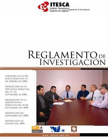 Reglamento de Investigación - Instituto Tecnológico Superior de ...